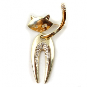 Fashion Seductively Charming Kitten Golden Rhinestone Brooch