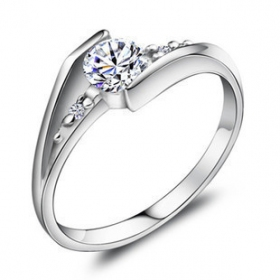 Exquisite Silver Rhinestone Ring