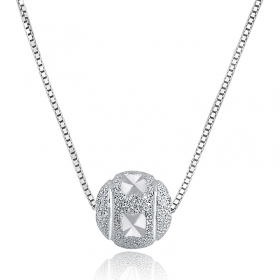 Exquisite Ball Shape Silver Pendant Necklace