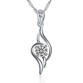 Elegant Silver Pendant Necklace With Rhinestone
