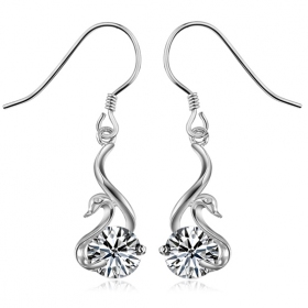 Chic Little Silver Goose Embedded CZ Drop Earring
