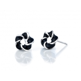 Exquisite Black Flower 925 Sterling Silver Stud Earring