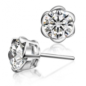 Chic Plum Flower CZ 925 Sterling Silver Stud Earring