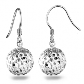 Simple Exquisite Hollowed Ball 925 Sterling Silver Drop Earring