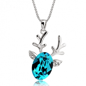 Luxury Fawn Shape 18K GP Austrian Crystal Pendant Necklace