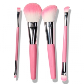 Pink 4 Pcs Double-end Makeup Brush Set