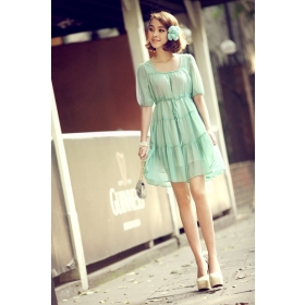 Fresh Romantic Green Chiffon Flat Sleeveless Womens Summer Dress ...