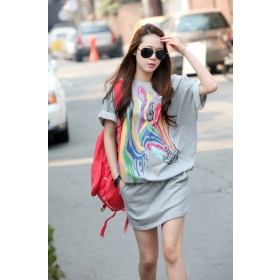 Cool Korea Hot Zebra Styling Cotton Casual Ladies Summer Dress ...
