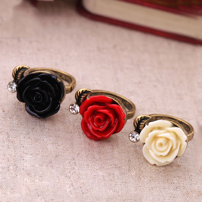 Vintage Style Rose Flower Rings with Black Red White Colors - Antique Rings - Rings