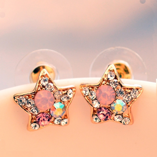 Vintage Costume Jewelry Multi-color Star Ladies' Chic Stud Earrings