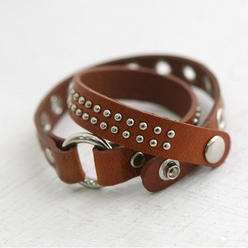 Vintage personlized rivet leather bracelet leather for Rivets for leather jewelry