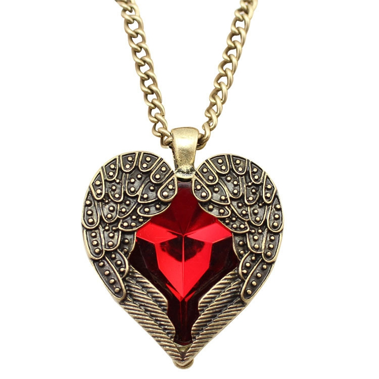 Vintage Large Red Rhinestone Heart Wing Pendant Chain