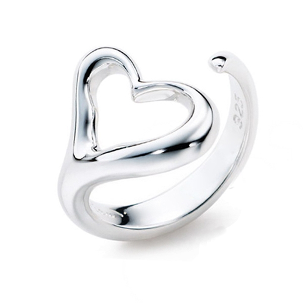 Fashion Simple Silver Heart Band Ring Silver Rings Rings