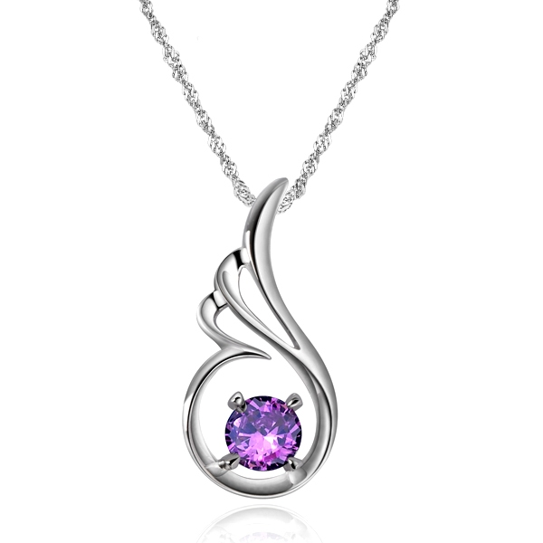Silver necklace necklaces exquisite angels love purple crystal silver pendant necklace aloadofball Choice Image