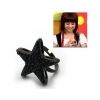 large Star Personalized black cocktail Band Rings