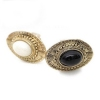 Vintage Oval Carve Pattern Rhinestone Antique Rings