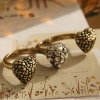 Vintage Bronze Heart Rhinestone Double Ring