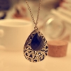 Vintage Water-drop Shape Black Gemstone Pendant Necklace