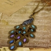 Vintage Gemstone Peacock Series Long Chain Necklace