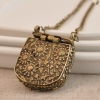 Chic Caving Flower Metal Handbag Shape Ladies' Long Chain Necklace