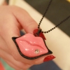 Fashion Jewlery Sexy Red Lip with Rhinestone Ladies' Sweater Chain Necklace