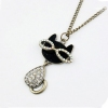 Vintage Lovely Black Cat Rhinestone Pendant Necklace