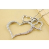 Fashion Silver Frosted Heart Chain Pendant Necklace