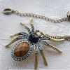 Vintage Spider Rhinestone Embedded Chain Pendant Necklace