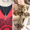 Vintage Cross Champagne Rhinestone Pendant Necklace