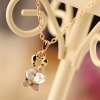 Lovely Crystal Bow Rabbit Alloy Chain Necklace