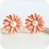Simple Elegant Resin Little Daisy Flower Stud Earrings with Pearl