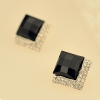 Luxury Fashion Black Rhombic Bling Ladies' Stud Earrings