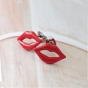 Trendy Sexy Red Lip Personalized Stud Earrings for Girls