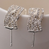 Elegant Rhinestone Silver Stud Earrings