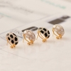 European Style Fashion White Leopard Rhinestone Stud Earring