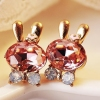 Lovely Cute Rabbit Bowknot Crystal Stud Earring