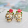European Style Vintage Rose Skull Rhinestone Stud Earring
