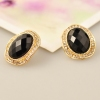 Vintage Exaggeration Rhinestone Black Gemstone Stud Earrings
