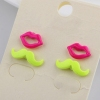 Vintage Fluorescence Color Lovely Moustache and Lips Stud Earrings