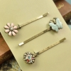 Vintage Colorful Rhinestone Flower Shape Butterfly Hair Clips