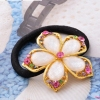 Golden Laces Crystal Flower Ponytail Holders