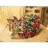 Vinage Bohemian Bronze Peacock Rhinestone Bangle Bracelet