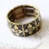 Old Fashioned Black Flower Bangle Bracelet
