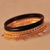 Fashion Golden Sequin Bangle Bracelet With 6pcs