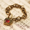 Vintage Classic Red Heart Wing Toggle Bracelet