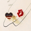 Vintage Fashion Heart Lip Star Rhinestone Brooch