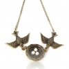Vintage Bronze Swallow Chain Necklace
