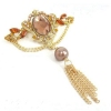 Tassel Style Rhinestone Brooch for Ladies with Gemstone