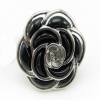 Chic Black Flower Ring