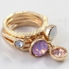 Simple Pink Opal Double Ring